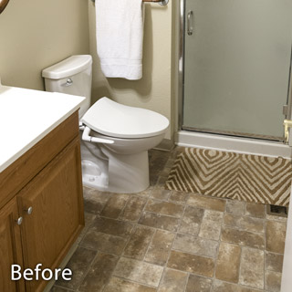 Kitchen and bathroom plumbing, before and after.